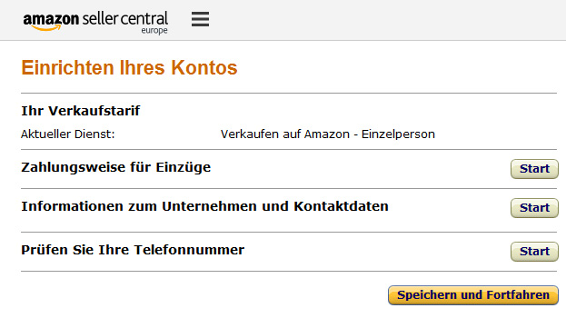 Registrierungsprozess bei Amazon Marketplace